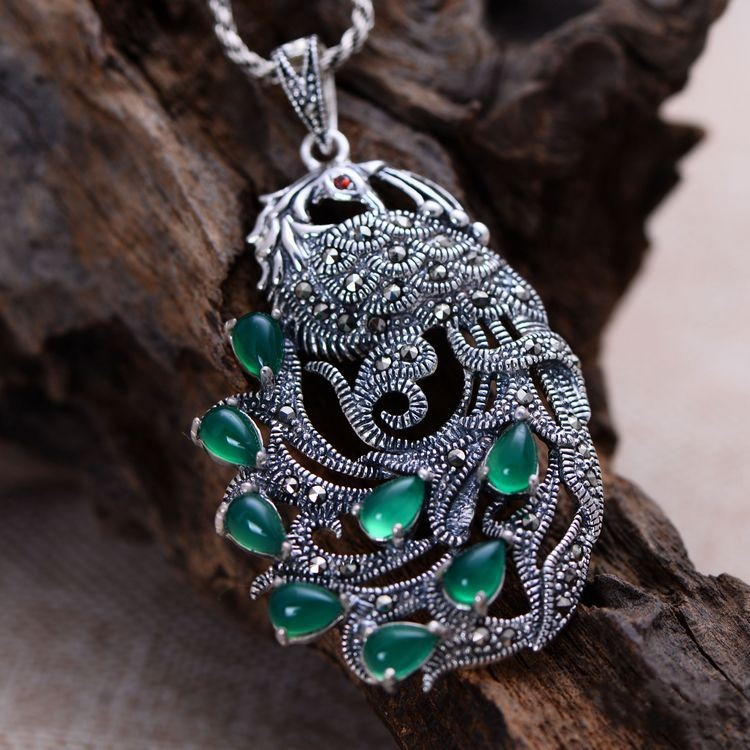 Black silver jewelry wholesale 925 sterling silver jewelry inlaid chalcedony Marcasite female peacock Pendant 017961w 925 sterling silver jewelry silver silver ruyi lucky elephant pendant pendant wholesale silver peace