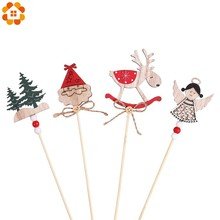 3PCS/Set Wooden Merry Christmas Santa Claus Xmas Tree Cake Toppers Festival Party Decorations Dessert Decor Supplies