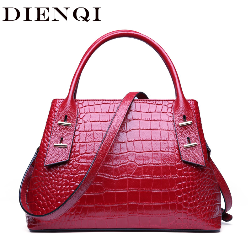 DIENQI Alligator Genuine Leather Luxury Handbags Women Bags Designer Purse Fashion Red Crossbody Bags for women