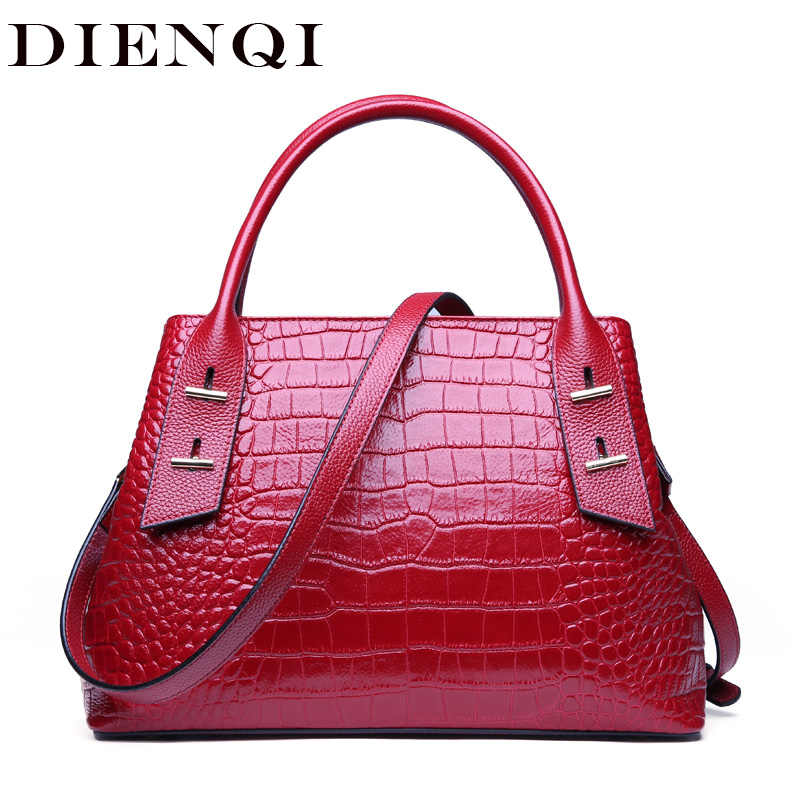 ea076f4e998 DIENQI Alligator Genuine Leather Luxury Handbags Women Bags Designer Purse  Fashion Red Crossbody Bags for women