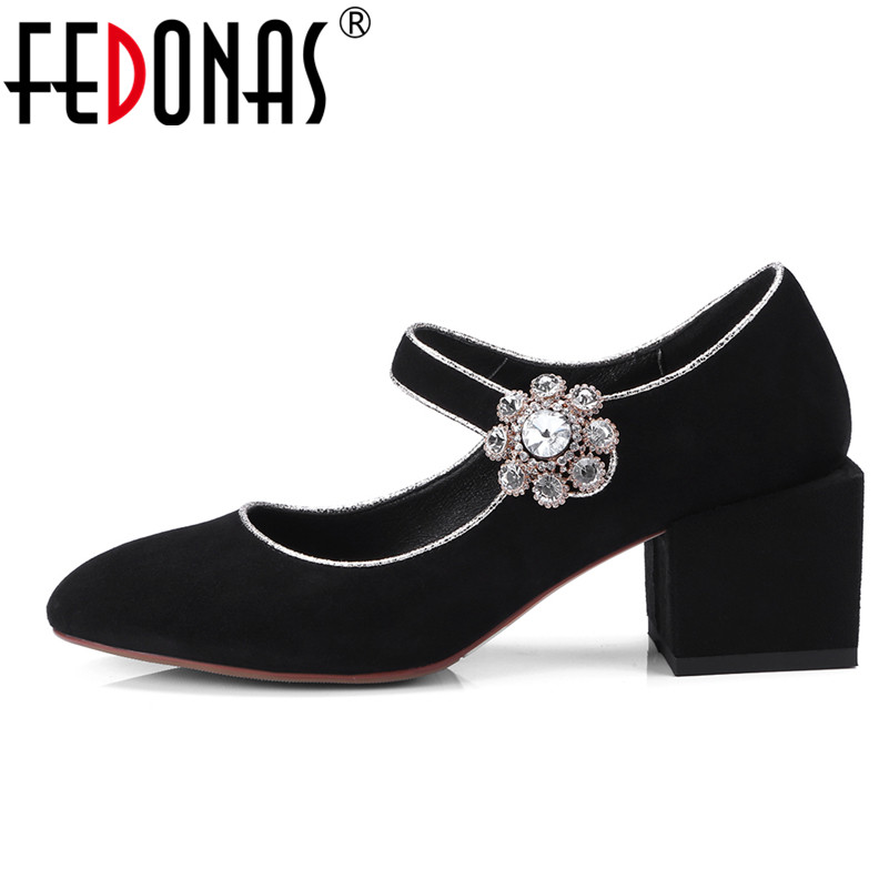 FEDONAS 2018 New Autumn Women Pumps Fashion Gladiator Thick Heels Ankle Strap Crystal Rhinestones Wedding Party Shoes Woman Pump new women gladiator sandals ladies pumps high heels shoes woman clear transparent t strap party wedding dress thick crystal heel