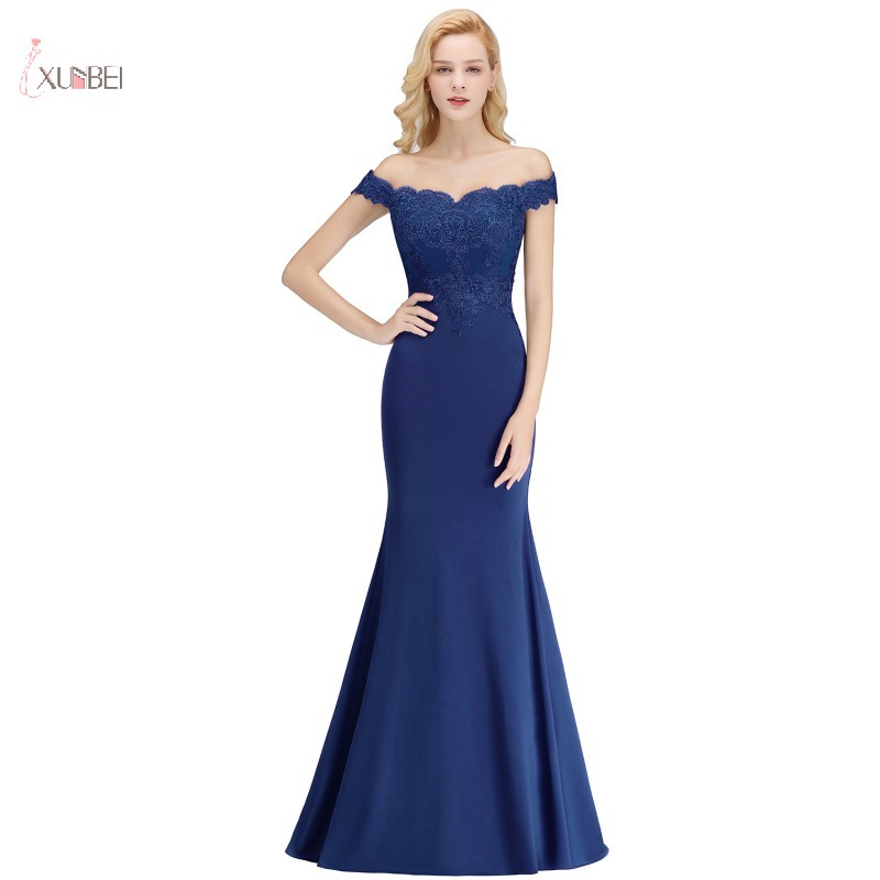 Royal Blue Mermaid Long Evening Dress 2019 Elegant Off The Shoulder Applique Party Gown Robe De Soiree In Stock