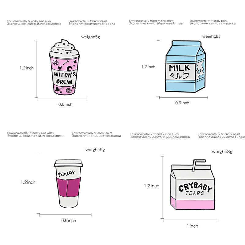 Lucu Kartun Cangkir Kopi Pin Perjalanan Piala Bros untuk Pergi Piala Lencana Susu Kerah Pin Hadiah untuk Pecinta Kopi susu Kekasih
