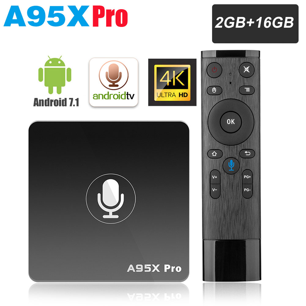 A95X PRO TV Box Amlogic S905W 2GB RAM 16GB ROM Media Player 2.4G WiFi Support Youtube 4K HD 3D TV Android 7.1 Voice Control Box-in Set-top Boxes from Consumer Electronics