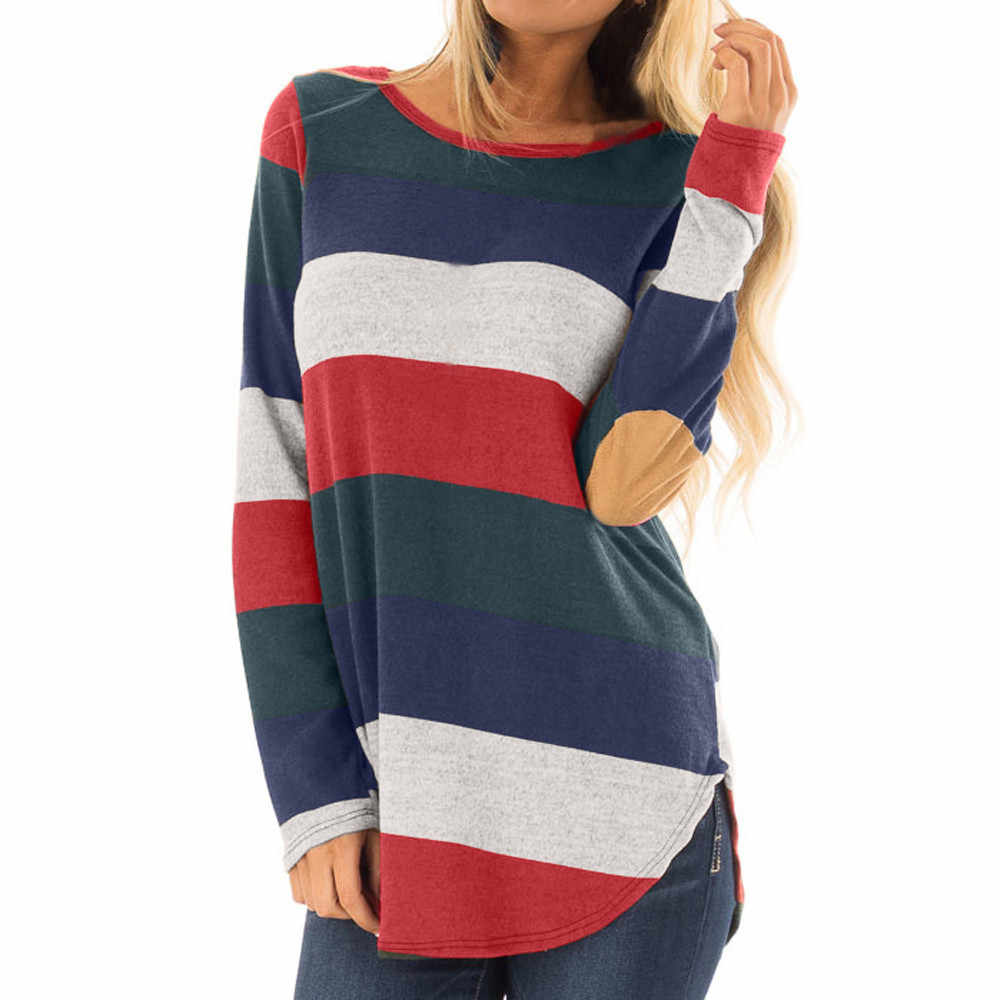 795fe4e5168b8 2018 New Autumn Green White Striped Knitted Sweater Women Half Sleeves Hit  Color Thin Blouse Shirt