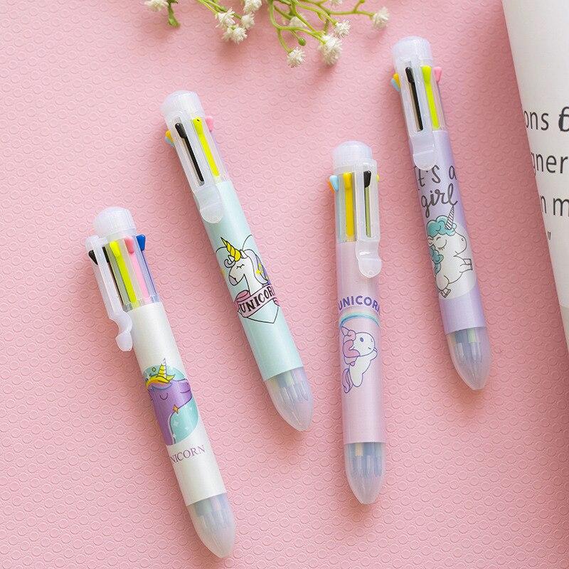 3 шт. Kawaii Единорог шариковых ручек 0,5 мм 8 цветов пополнения маркер пятна лайнер ручки милый подарок офиса Материал Эсколар FB828