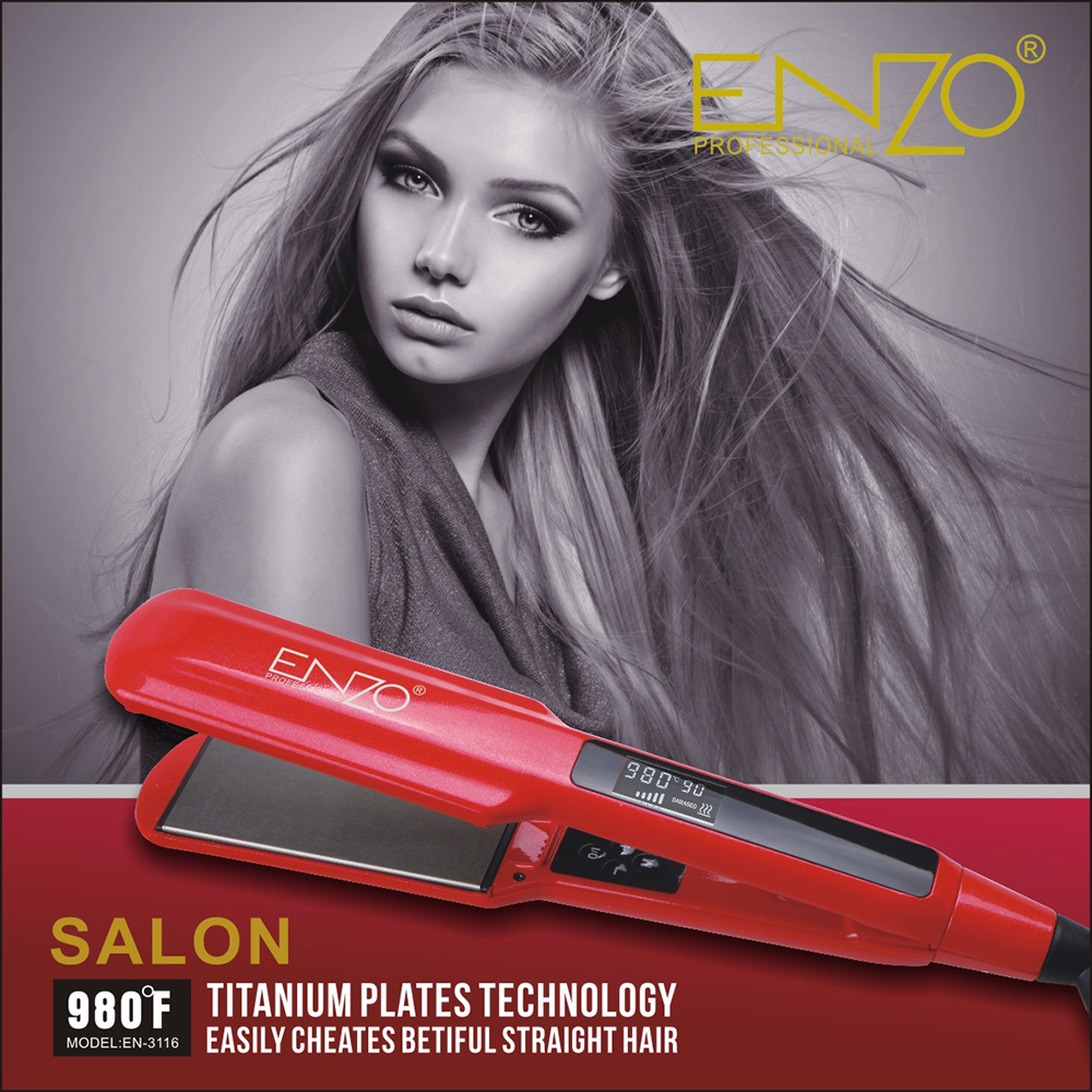 ENZO Professional Ceramic Flat Iron Hair Straightener With Digital LCD Display Dual Voltage Salon Hair Style Tools