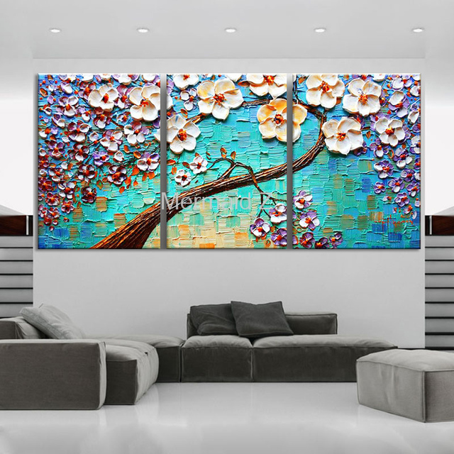 Hand Painted Modern Home Decor Wall Art Picture Brown Background White Oil  Painting On Canvas