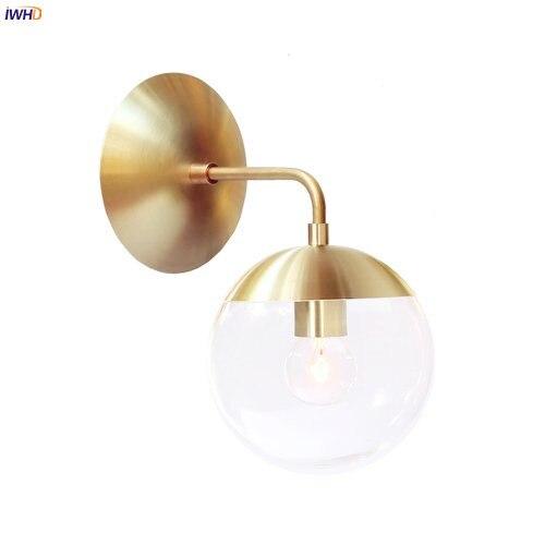 IWHD Nordic Modernen Kupfer LED Wandleuchte Neben Wohnzimmer Badezimmerspiegel Licht Glas Ball Wand Leuchten Wandlampen-in LED-Innenwandleuchten aus Licht & Beleuchtung bei