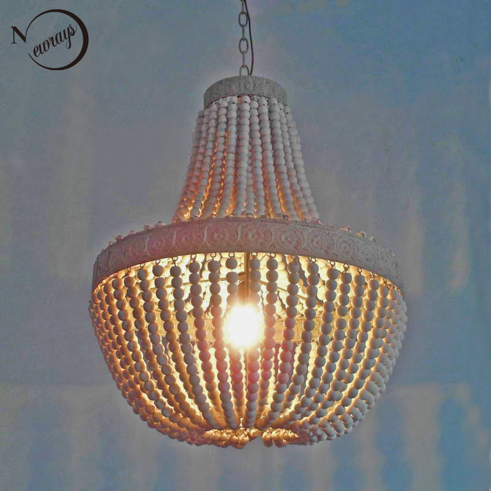 Buy retro antique loft vintage rustic for Wood pendant chandelier