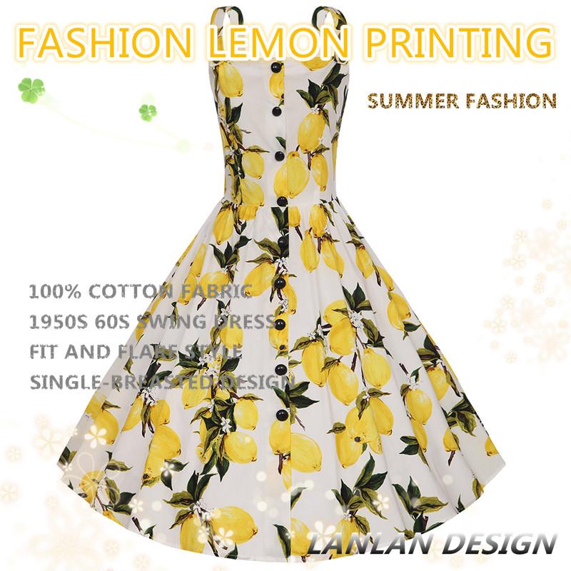 XS-4XL 2017 New Cotton Spaghetti Strap Swing Single-breasted Buttons Lemon  Printing Women Dresess Vintage Plus Size Summer Dress 8726da0a2057