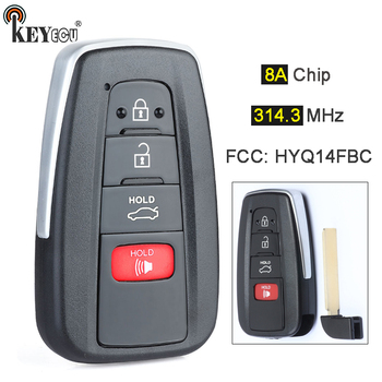 KEYECU 314.3MHz 8A Chip HYQ14FBC Replacement Smart 3+1 4 Button Proximity Remote Car Key Fob for Toyota Camry 2018