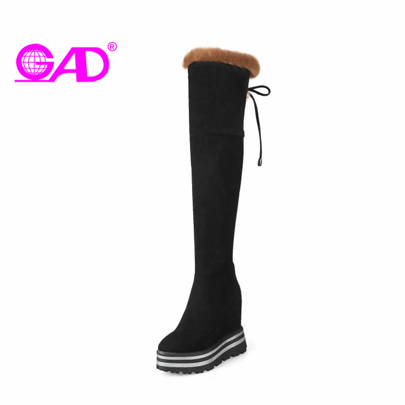 GAD Flock Over The Knee Boots Warm Fur Winter Shoes Women Thigh High Boots Fashion Side Zipper Cross-tied Platform Women Shoes odetina warm cotton snow boots black over the knee long boots womens thigh high boots waterproof fashion ladies winter shoes
