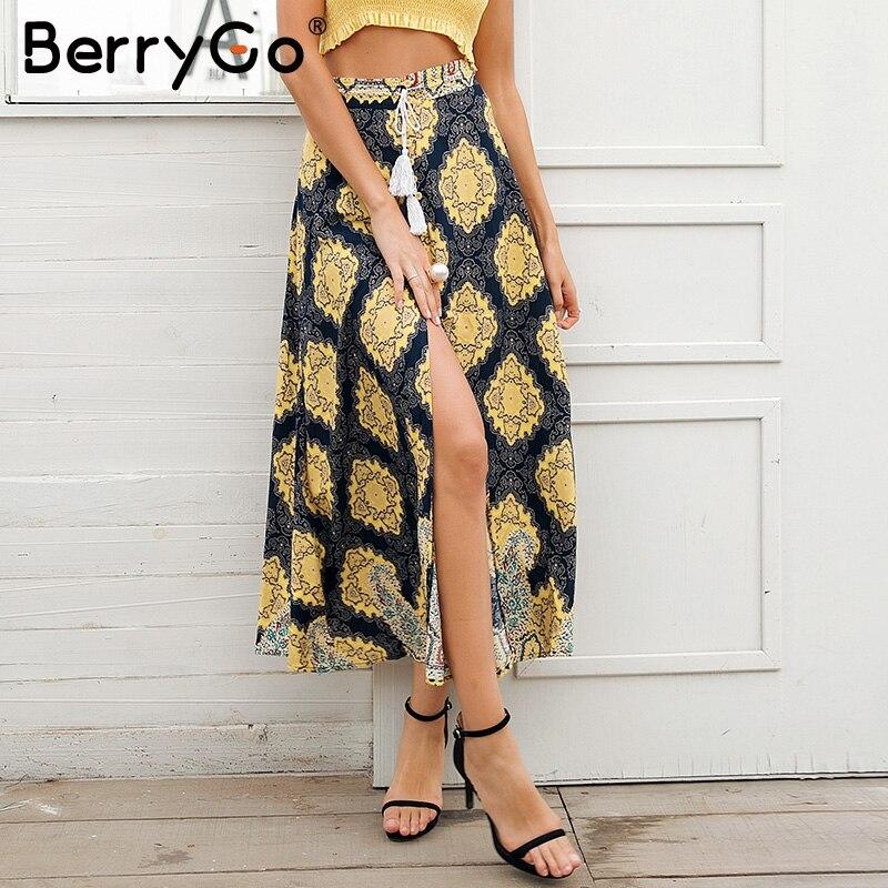 BerryGo Split Print High Waist Long Skirt Women Tassel Summer Style Beach Maxi Skirt 2019 Casual Floral Sash Wrap Skirt Female