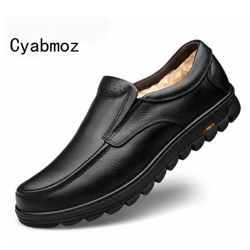 Classic Winter Handmade 100% Genuine Leather Men Loafers Men Warmest Casual Shoes Brand Man Shoes Male Big Size 45 46 47 Shoes warmest genuine leather snow boots size 37 50 brand russian style men winter shoes 8815