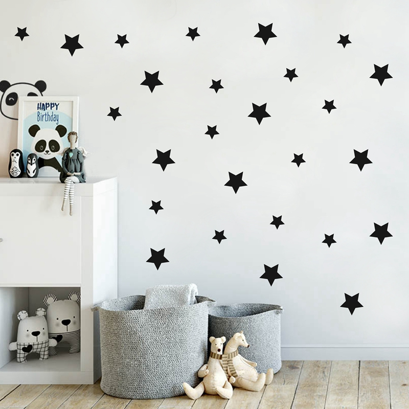 Gold Stars Pattern Vinyl Wall Art Decals Nursery Room Decoration