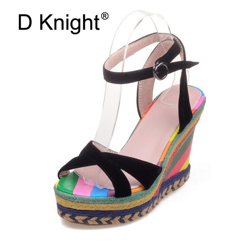 Rainbow Color Woman Sandals Platform Wedge Heel Bohemia Casual Summer Peep Toe Buckle Strap Shoes Woman Size 32-43 High Heels
