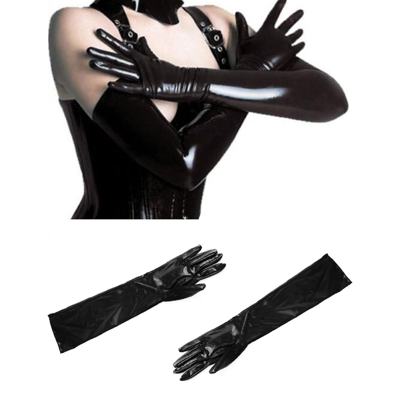 KLV Vogue Ladies Leather Adhesiv Gloves Sexy Queen Adult Accessories Shiny WetLook Party Gloves