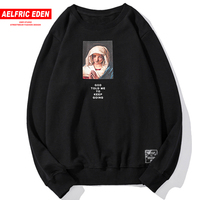 Aelfric Eden Virgin Mary Letter Print Hoodie Streetwear Men 2018 Autumn Winter Cotton Casual Hoodies Sweatshirts Pullovers UP09