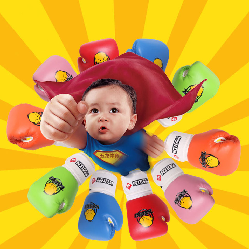 1 paar PU Leder Kinder Kinder Mitts Handschuh MMA Muay Thai Trainings Stanzen Cartoon Sparring dajn Boxen Handschuhe 4 unzen alter 3-12 image