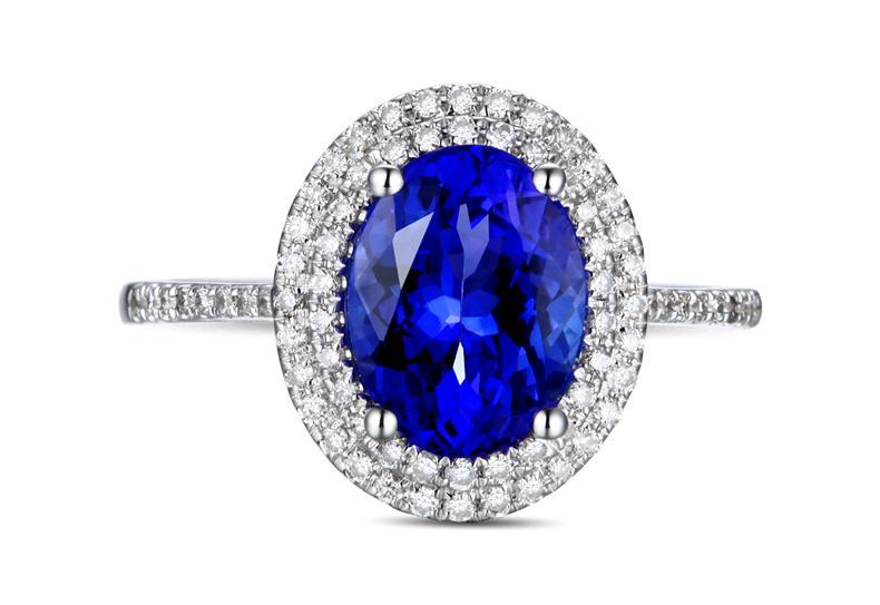 Роскошные 2.12 карат стерлингового серебра 925 натуральный сапфир Diamant Танзанит палец кольцо обручальное кольцо для женщин (см)