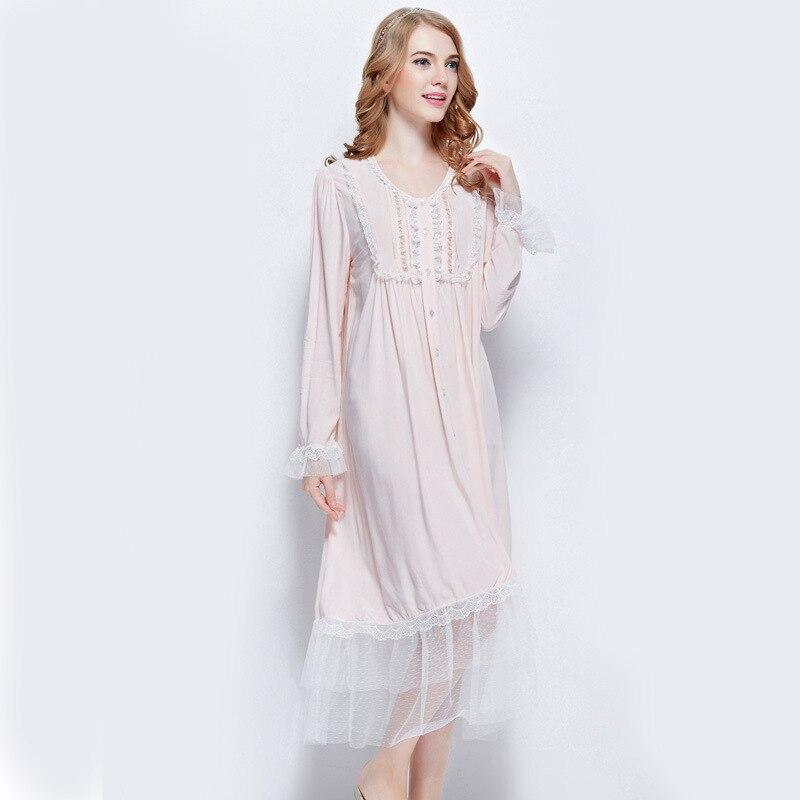 newest collection ae5f3 d6802 US $30.82 51% OFF|Europäische marke frauen elegante nachthemden dünne  schöne spitze weichen bequemen floral rosa nachthemd für frauen lange ...