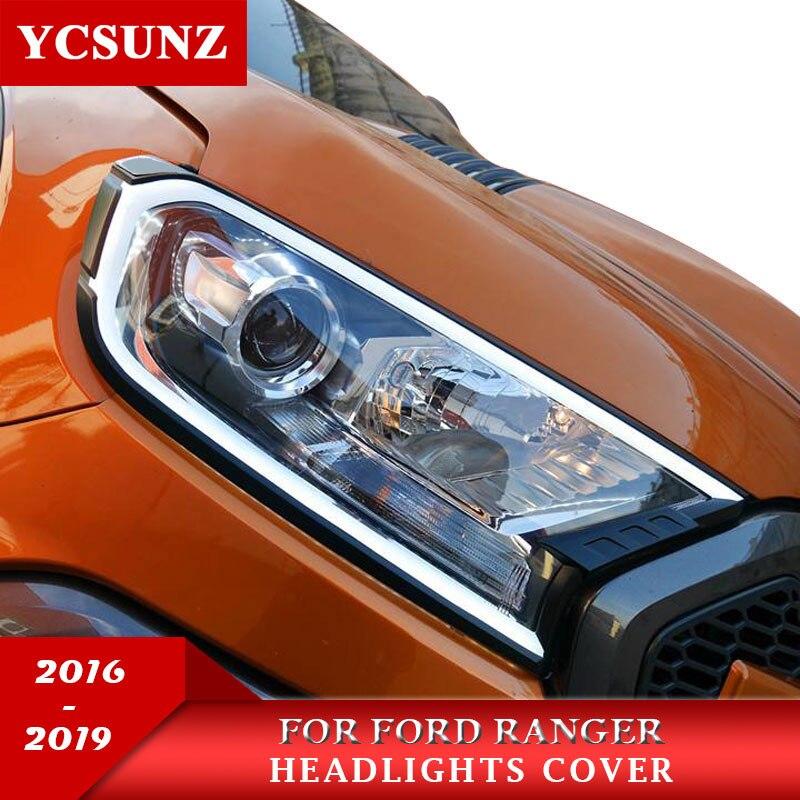 포드 레인저 t7 wildtrak endeavor everest 2016-2019 용 조명이없는 헤드 라이트 커버