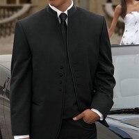Classic Mens Suits Bruidsjonkers Mandarijn Revers Bruidegom mannen pak Smokings 2017 Zwart Wedding Beste Man Pak (Jasje + Broek + Tie + Vest)
