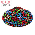 NATASSIE ON BIG SALE Women Evening Bag Flower Clutch Purses Colorful Crystal Bags