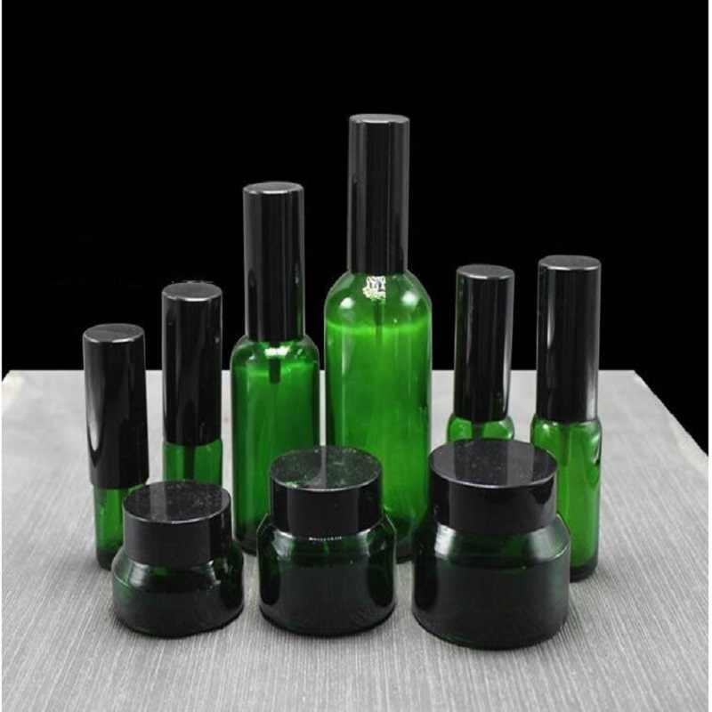 15g 30g 50g Krem Cam Şişe Seti Özü Flakon Yeşil Sprey Doldurulabilir Şişe Toner Şişesi Losyon Pompası kozmetik Kapları Kavanoz
