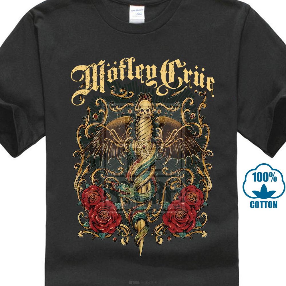 Motley Crue Men'S Exquisite Dagger   T     Shirt   100% Cotton Short Sleeve O Neck Tops Tee   Shirts   Mens   T     Shirts   Fashion 2018 S 3Xl