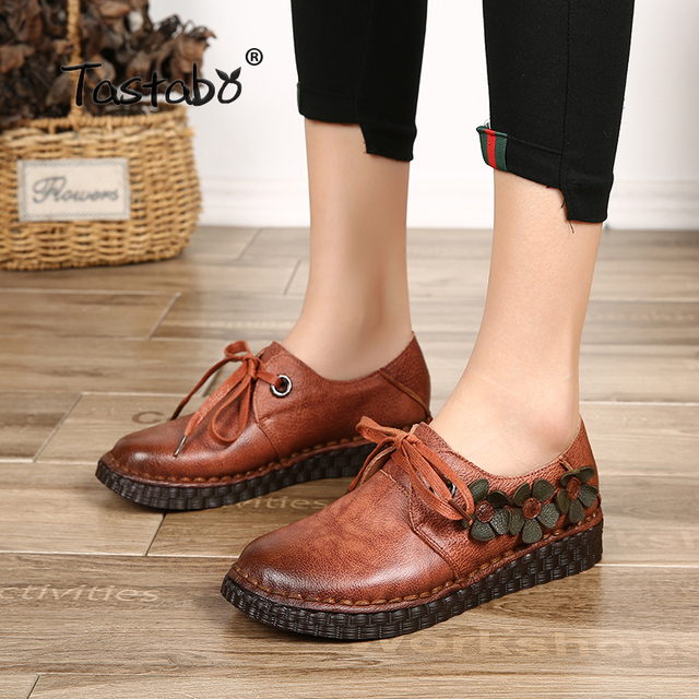 5be6cc514a Tastabo Casual Genuine Leather Flat Shoe Fashion Women Shoe Flower Driving  Shoe Female Moccasins Women Flats Lady Shoes