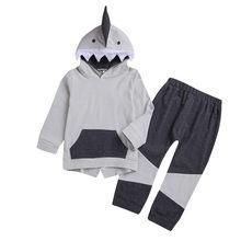519c68958 ARLONEET bebé niño niñas dibujos animados de manga larga traje de niño niños  tiburón Sudadera con capucha Top + Pantalones conju.