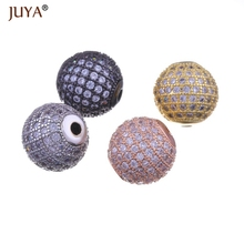 цена 10pcs wholesale beads findings gold silver rose gold black 6mm 8mm 10mm 12mm copper zircon round ball beads for jewelry making онлайн в 2017 году