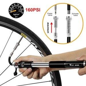 Image 2 - WEST BIKING bomba de aire para inflar alta presión aluminio, Para neumáticos de bicicleta, válvula Presta Schrader, 160PSI