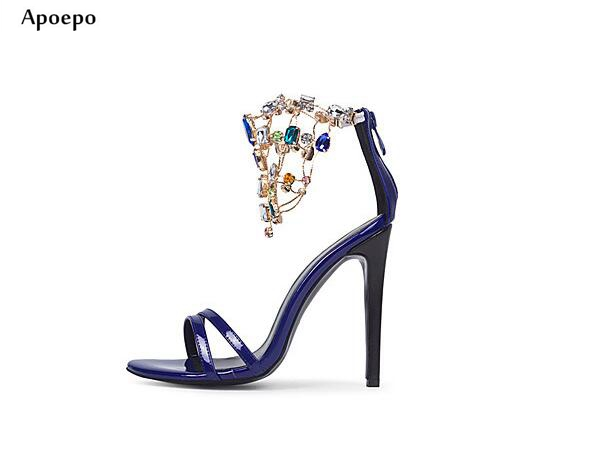 Apoepo 2018 Summer High Heel Sandal Sexy Open Toe Crystal Embellished Thin Heels Shoes Cutouts Ankle Strap Gladiator Sandal hot selling black leather sandal high heel summer open toe chains decorations gladiator sandal woman cutouts thin heels shoes