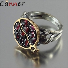 CANNER Vintage Stone Rings For Women Geometric Hollow Ring Creative Garnet Pomegranate Fruit Flower Jewelry Anillos F40