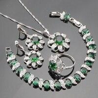 925 Sterling Silver Green Emerlad White Topaz Jewelry Sets For Women Earrings Pendant Necklace Rings Bracelets