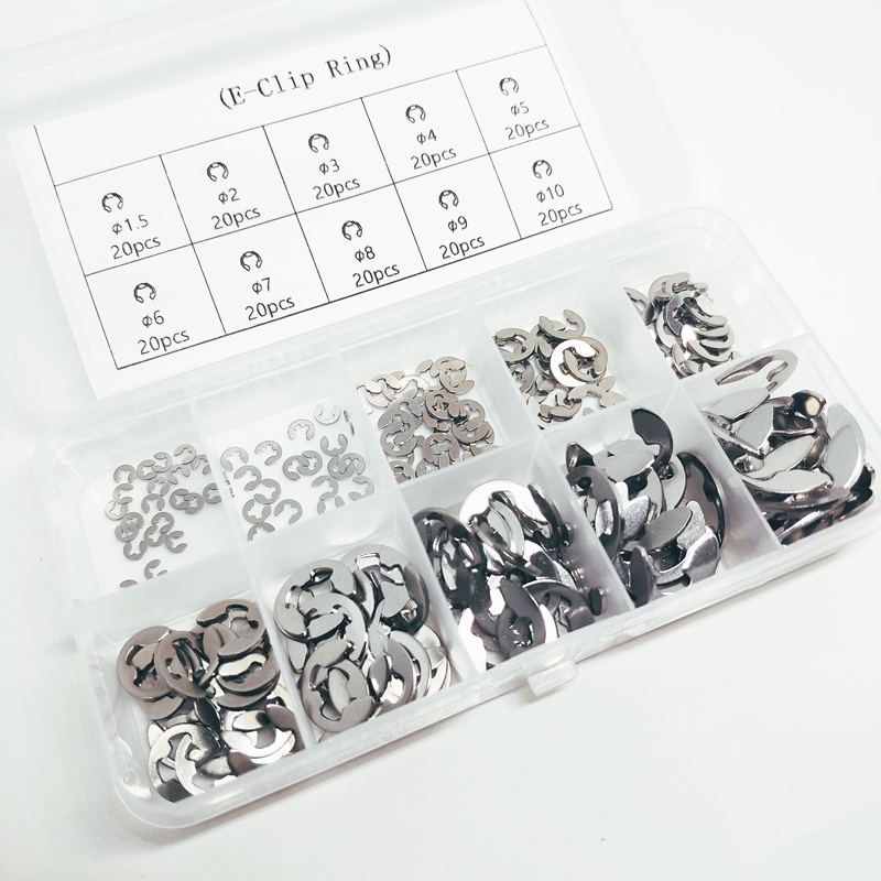 200pcs/set 304 Stainless steel E Clip washer Assortment kit circlip retaining ring for shaft fastener M1.5-M10 image