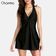 Charmo Women One-piece V Neck Swimsuit Bandaged Swimwear Retro Solid Color Bikini Vintage Bathing Suit rushed sexy dress