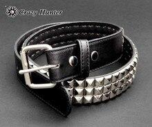 Cinturón de piel de vaca auténtica con tachuelas de Metal para hombre, Punk Rock Biker