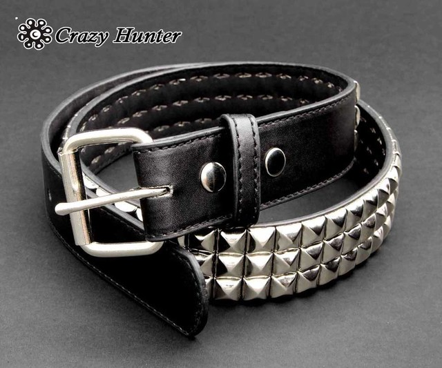 Mens Punk Rock Biker Metal Studded Revit Genuine Cowhide Leather Belt