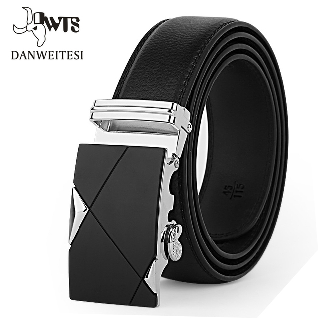 DWTS Men Belt Male Genuine Leather Strap Belts For Men Top Quality Automatic Buckle black