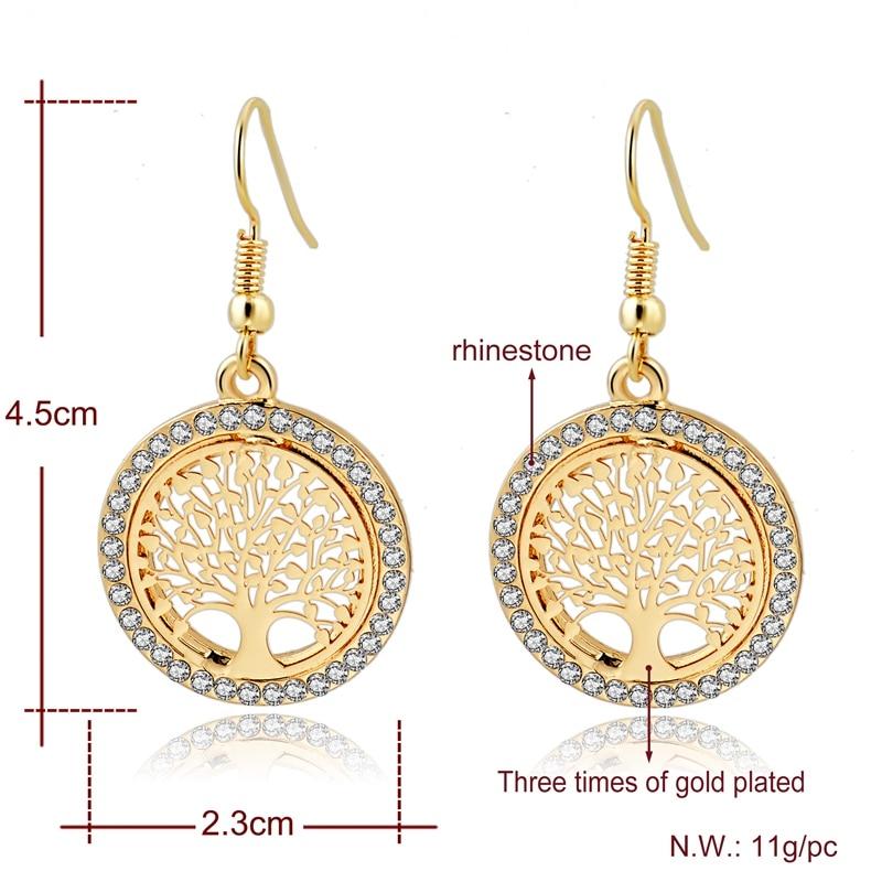 LongWay Gold Color Tree Of Life Jewelry Set For Women Girls Necklace Earrings Bracelets Wedding Crystal Jewellery Set SET160008 4