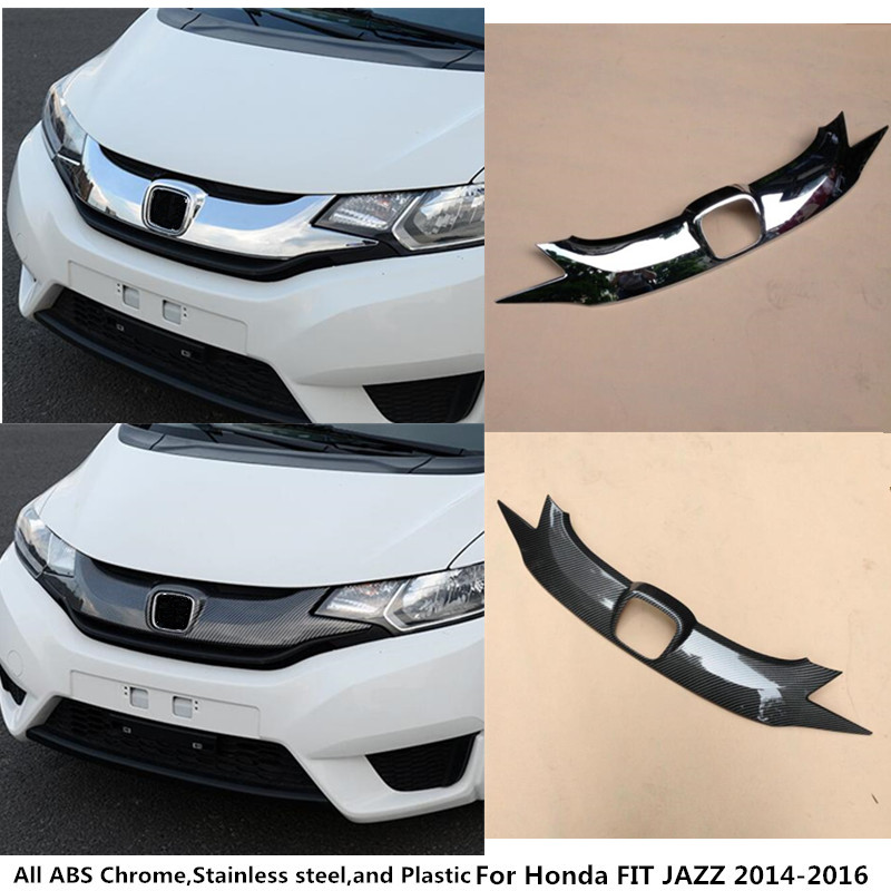For Honda FIT JAZZ 2014 2015 2016 Car style cover detector ABS Chrome/Carbon fiber trim Front bottom Grid Grill Grille hood 1pcs for toyota corolla altis 2014 2015 2016 car body styling cover detector abs chrome trim front up grid grill grille hoods 1pcs