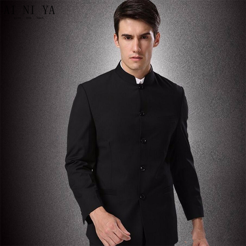 (Jacket + Pants + Tie) Men Business Suits Trousers Chinese Tunic Suit Black New Arrival Large Size Traditional Mandarin