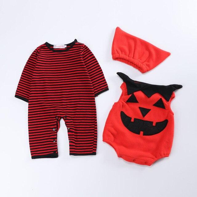 dcd775b860fe (4Pcs lot) Halloween Newborn Baby Clothing Set Toddler Kids Girl Boy Rompers  Pumpkin Pattern Romper Jumpsuit Playsuit Outfits