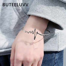 BUTEELUVV Electrocardiography Charm Bracelet for Women Accessoires Simple Elegant Black Lightning Geometric Cuff Bangle Jewelry chic hollowed geometric cuff bracelet for women