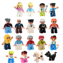 City Series Policeman Thief Doctor Engineer Nurse animal Figure Large Particle Building Blocks Toy Compatible with