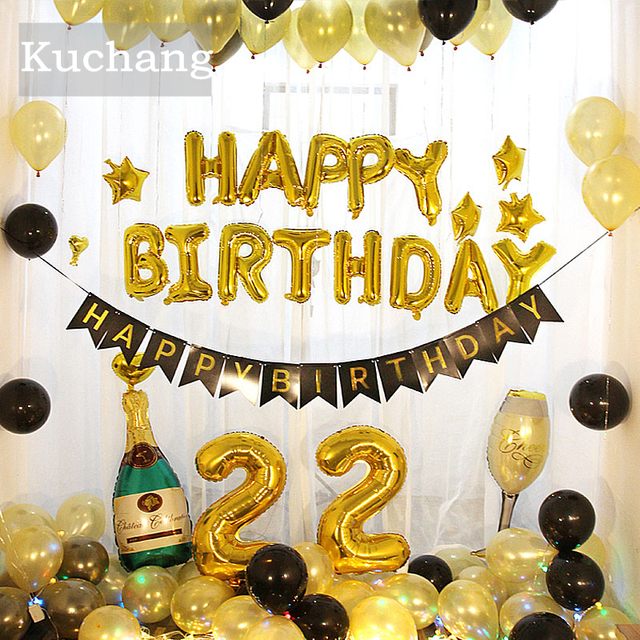 16 Inch Letters HAPPY BIRTHDAY Foil Balloons Happy Birthday Party Decoration Kids Alphabet Air Banner